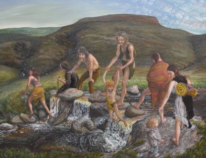 "'Man Journey' – oil on canvas fine art painting (39"" high by 98"" wide when fully unfolded), completed in 1993"